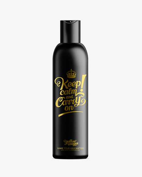 Download Black Plastic Cosmetic Bottle with Lid - 200 ml Object Mockups