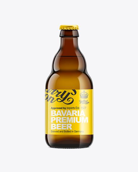 Download Amber Bottle with Light Beer 330ml Object Mockups