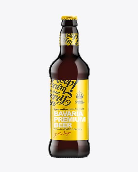 Download 500ml Black Amber Bottle with Dark Beer Mockup Object Mockups