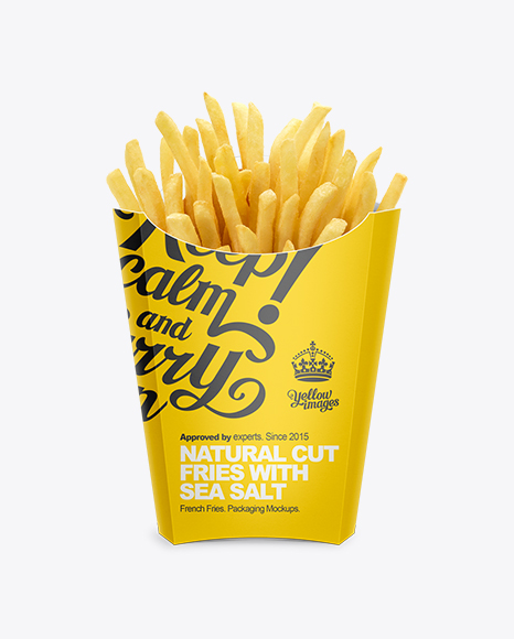 Paper french fries box large size in box mockups on for French fries packaging template