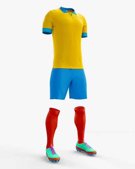 Full Soccer Kit Halfside View In Apparel Mockups On Yellow Images