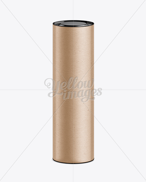 Kraft paper tube with lid mockup in tube mockups on yellow for Kraft paper craft tubes