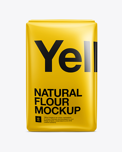 Flour Bag Mockup In Bag & Sack Mockups On Yellow Images