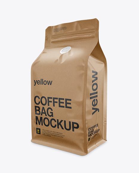 kraft coffee bag mockup half side view in bag sack mockups on yellow images object mockups. Black Bedroom Furniture Sets. Home Design Ideas