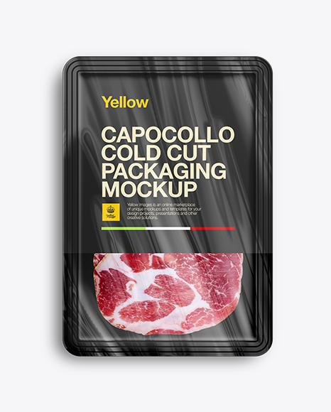 Download Plastic Tray W/ Sliced Capicola Mockup Object Mockups