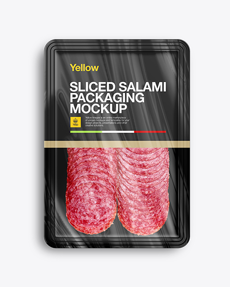 Download Plastic Tray W/ Sliced Winter Salami Mockup Object Mockups