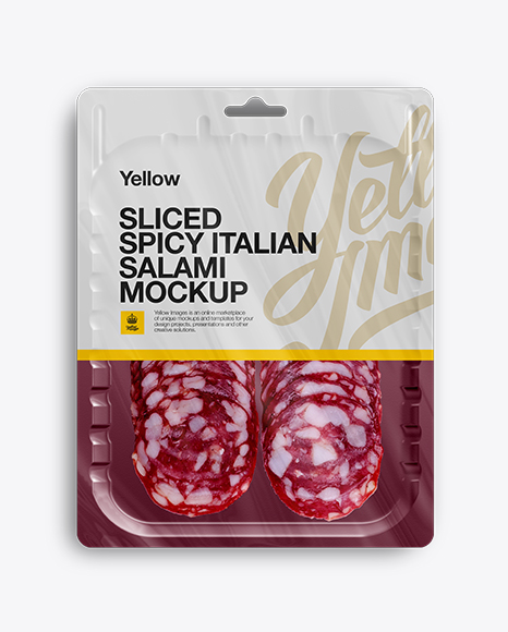 Download Vacuum Tray W/ Spicy Italian Salami Mock-up Object Mockups