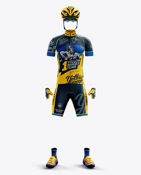 Download Full Men's Cycling Kit Mockup - Front View Object Mockups
