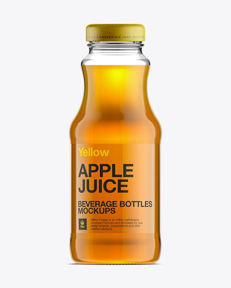 Glass Bottle W/ Apple Juice Mockup in Bottle Mockups on ...