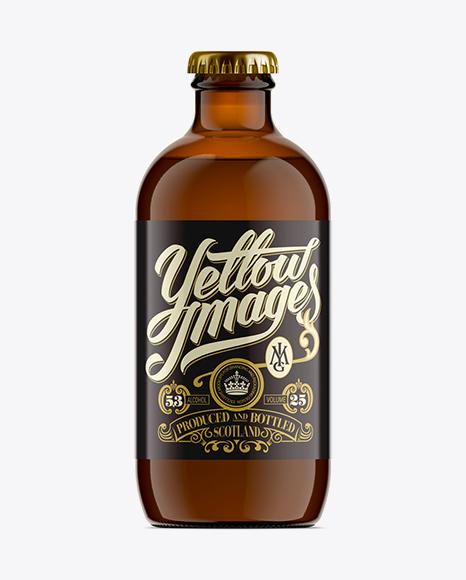 Download 330ml Stubby Amber Handy Bottle Mockup Object Mockups