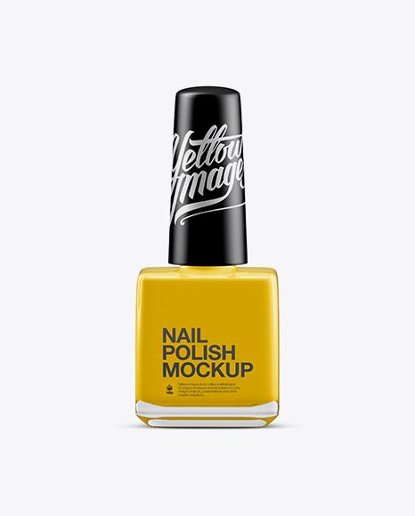 Download Glossy Nail Polish Square Bottle w/ Matte Cap Mockup Object Mockups
