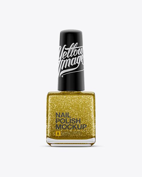 Download Sparkle Nail Polish Square Bottle Mockup Object Mockups