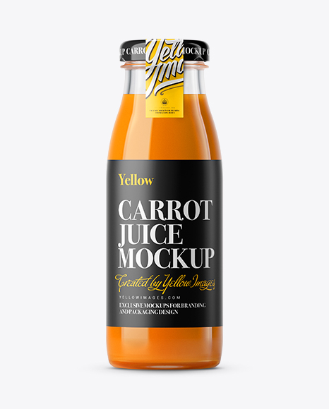 carrot juice glass bottle with a tag mockup in bottle mockups on