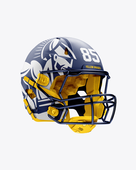 Business Stationery Mock Up Poster Top View: Matte American Football Helmet Mockup