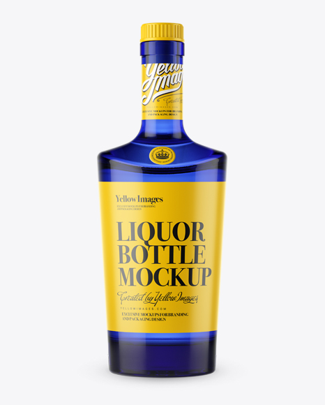 Download Blue Glass Liquor Bottle With Bung Front View Dangler Mockup Psd Free Download PSD Mockup Templates