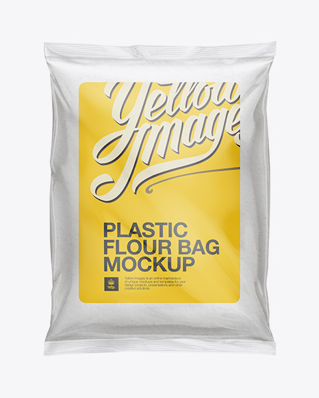 Plastic Bag With Flour Mockup In Bag & Sack Mockups On