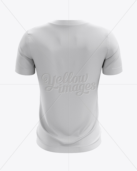 Crew neck soccer t shirt mockup back view in apparel mockups on yellow images object mockups for Back of shirt mockup