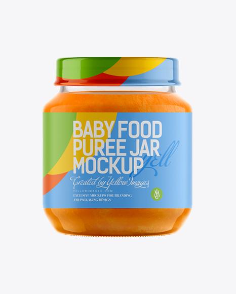 Download 141ml Babyfood Carrot Puree Jar Mockup Object Mockups