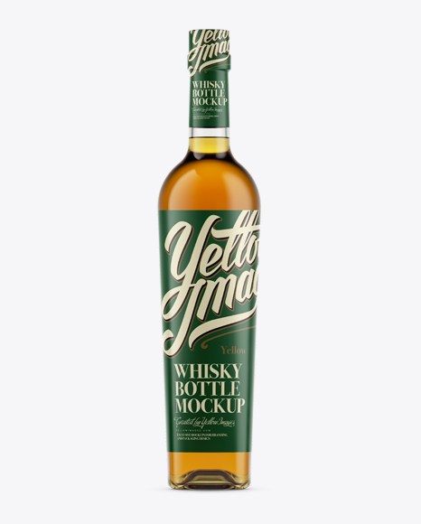 Download Glass Bottle for Whiskey Mockup - Front View Object Mockups