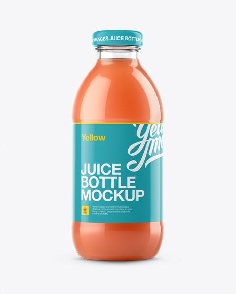grapefruit juice glass bottle mockup in bottle mockups on yellow