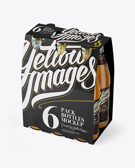 White Paper 6 Pack Beer Bottle Carrier Mockup 3 4 View High