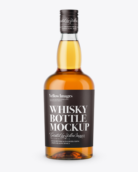Download Clear Glass Whiskey Bottle Mockup - Front View Object Mockups