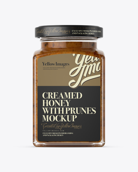 Download Creamed Honey w/ Prunes Glass Jar Mockup Object Mockups