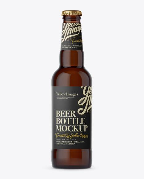 Download 330ml Amber Beer Bottle Mockup Object Mockups