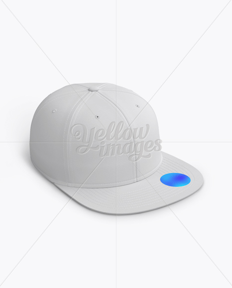 Snapback Cap with Sticker Mockup (Right Half Side View)