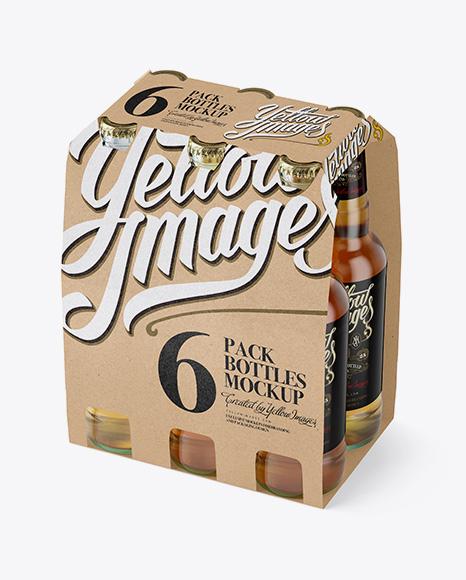 Kraft Paper 6 Pack Beer Bottle Carrier Mockup Halfside View