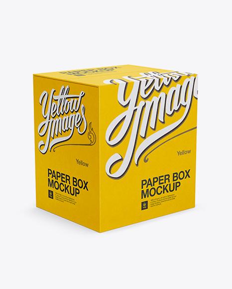 Download Paper Box Mockup - Half-Side View (High Angle Shot) Object Mockups