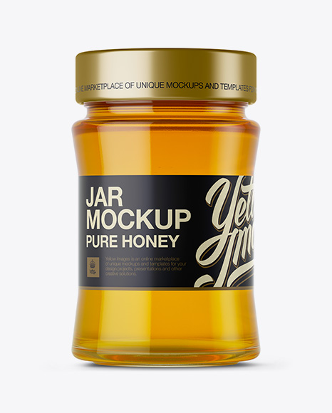 Download Glass Jar w/ Pure Honey Mockup Object Mockups