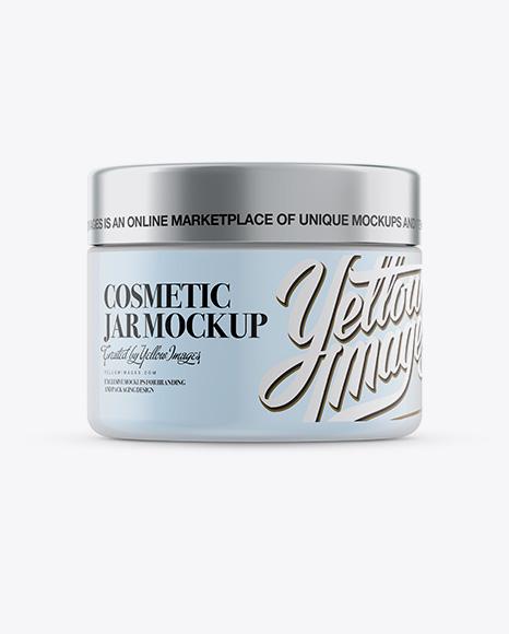 Download 250ml Plastic Cosmetic Jar w/ Silver Matte Cap Mockup (Eye-Level Shot) Object Mockups