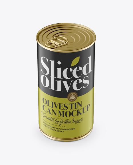 Download Olives Tin With Metal Ring Mockup (High-Angle Shot) Object Mockups