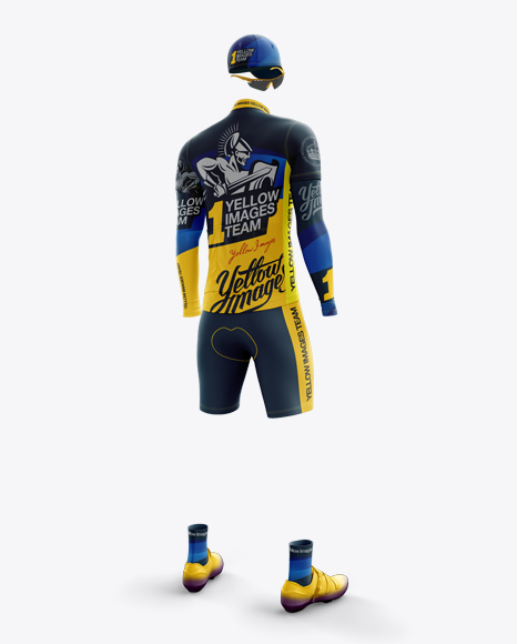 Men's Full Cycling Kit with Cooling Sleeves Mockup (Hero Back Shot)