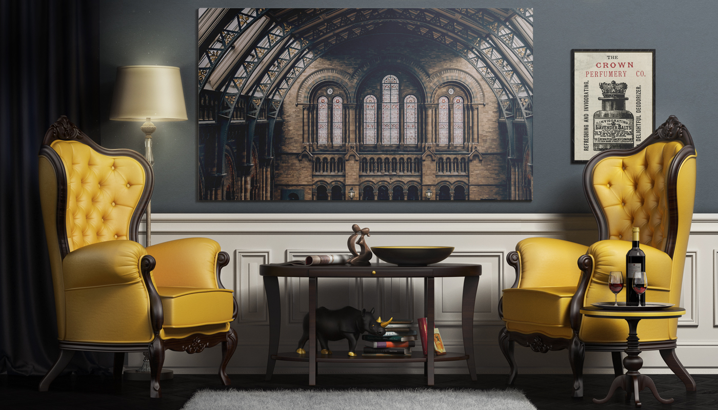 2 Posters in the Chesterfield Interior Mockup in Indoor Advertising ...