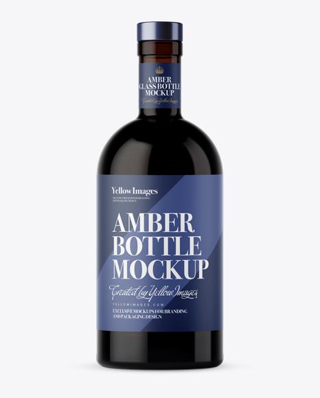 Download Dark Amber Glass Bottle Mockup - Front View Object Mockups