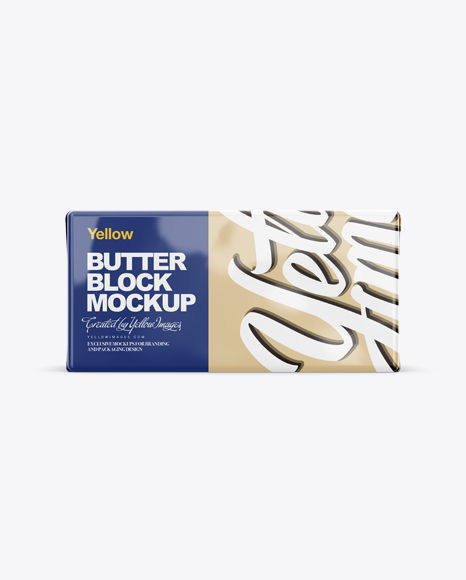 Download 250g Glossy Butter Block Mockup - Front, Top & Side Views Object Mockups