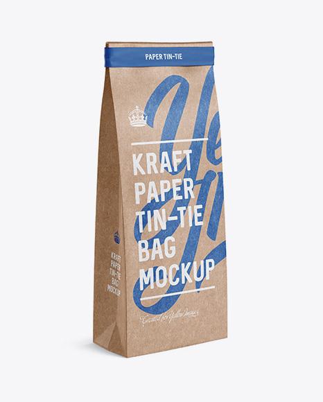 Download Kraft Paper Bag w/ a Paper Tin-Tie Mockup - Halfside View Object Mockups