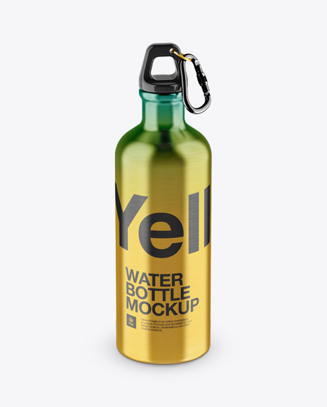 Download Steel Sport Bottle With Carabiner Mockup - High-Angle Shot Object Mockups