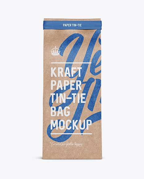Download Kraft Paper Bag w/ a Paper Tin-Tie Mockup - Front View Object Mockups