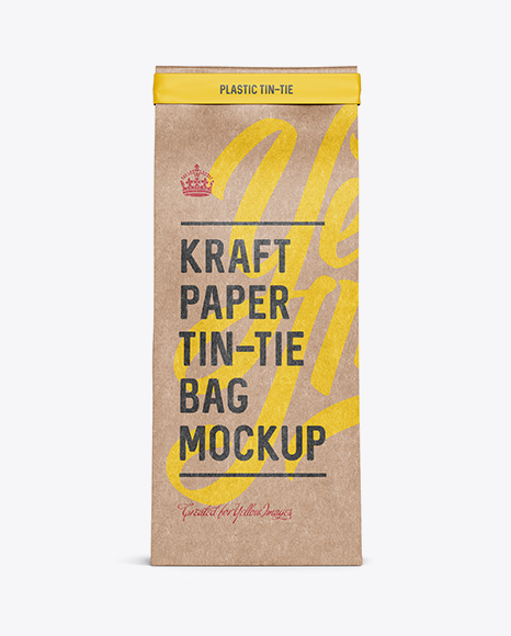 Download Kraft Paper Bag w/ a Plastic Tin-Tie Mockup - Front View Object Mockups