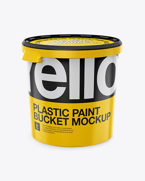 Download Plastic Paint Bucket Mockup - High-Angle Shot Object Mockups
