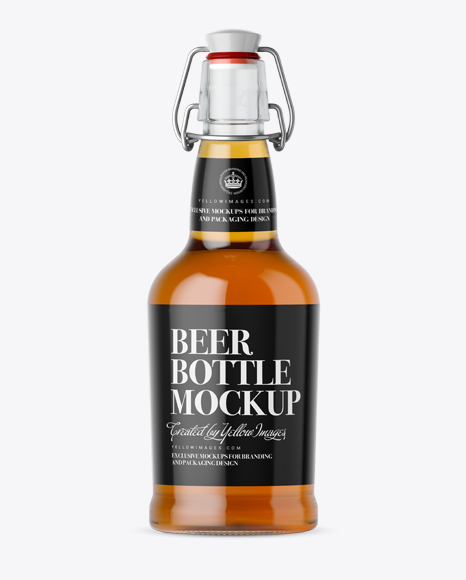 Download Clear Glass Beugle Bottle w/ Beer Mockup - Front View Object Mockups