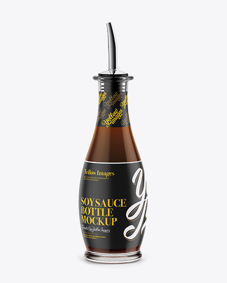 Light Soy Sauce Glass Bottle Mockup