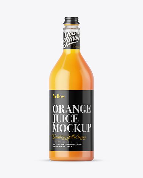 Download 1L Orange Juice Glass Bottle Mockup Object Mockups
