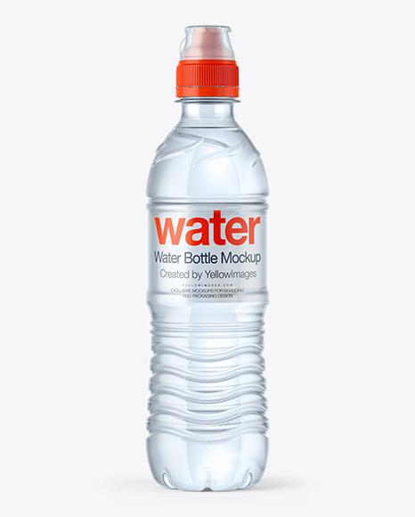 Download 500ml Water Bottle with Sport Cap Mockup Object Mockups