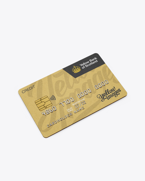 Metal Credit Card Mockup Halfside View High Angle Shot Free