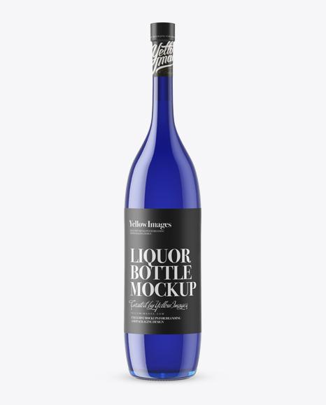 Download Long Neck Blue Glass Bottle Mockup Object Mockups