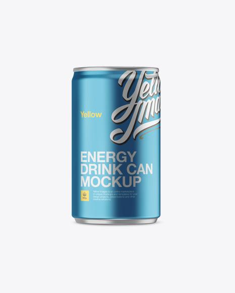 Download 150ml Metallic Aluminium Can Mockup (Eye-Level Shot) Object Mockups